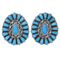 Navajo Turquoise Cluster Earrings 35324
