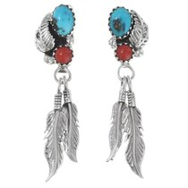 Turquoise Coral Silver Feather Earrings 35325
