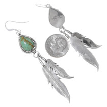 Navajo Green Turquoise Feather Dangle Earrings 35326