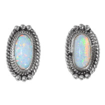 Sterling Silver Opal Earrings 35327