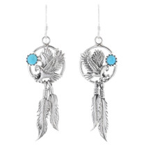 Silver Eagle Turquoise Dangle Earrings 35328