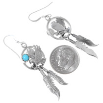 Turquoise Sterling Silver Feather Earrings 35328