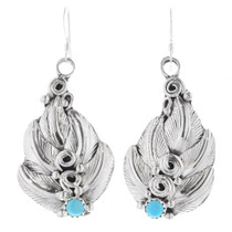 Turquoise Sterling Silver Navajo Earrings 35330