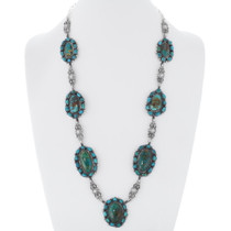 Green Turquoise Sterling Silver Necklace 35334