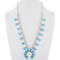 Sleeping Beauty Turquoise Squash Blossom Necklace 35336
