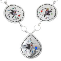 Sterling Silver Gemstone Inlay Necklace 35339