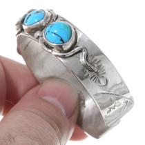 Kingman Turquoise Effie Calavaza Design Snake Bracelet 35342