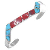 Turquoise Coral Inlaid Silver Cuff Bracelet 35343