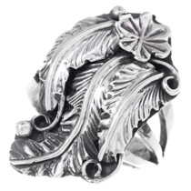 Navajo Sterling Silver Flower Leaf Ring 35344