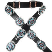 Vintage Inlaid Turquoise Sterling Concho Belt 35349