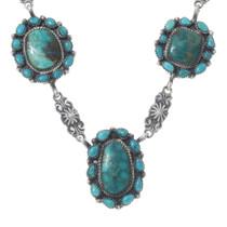 Navajo Turquoise Silver Y Necklace 35352