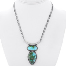 Navajo Sterling Silver Turquoise Necklace 35355