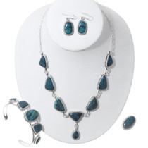Dark Blue Green Turquoise Necklace Jewelry Set 35356