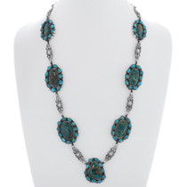 Turquoise Silver Link Necklace 35357