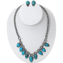 Matching Turquoise Necklace Earrings Navajo Jewelry 35358