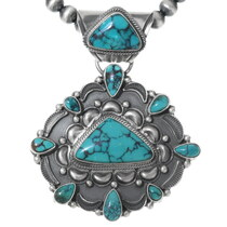 Spiderweb Turquoise Pendant Necklace 35359