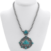 Navajo Sterling Silver Turquoise Pendant 35359
