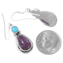 Navajo Turquoise Spiny Oyster Sterling Silver Earrings 35360