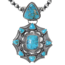 Navajo Turquoise Silver Pendant 35361