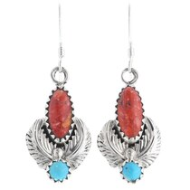 Turquoise Coral Silver Navajo Earrings 35362