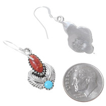 Native American Coral Turquoise Earrings 35362
