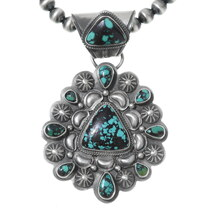 Navajo Spiderweb Turquoise Pendant Necklace 35363