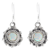 White Opal Sterling Silver Earrings 35364