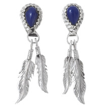 Lapis Silver Feather Dangle Earrings 35365