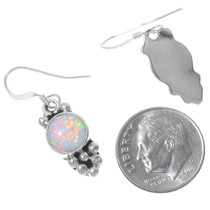 Navajo Fiery Opal Silver Drop Earrings 35366