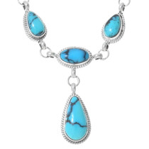Spiderweb Turquoise Sterling Silver Necklace Set 35370