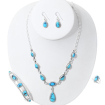 High Grade Turquoise Necklace Jewelry Set 35370