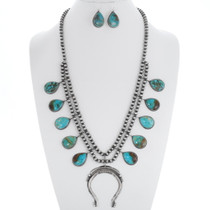 Turquoise Squash Blossom Necklace Set 35371