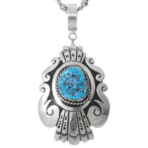 Navajo Turquoise Sterling Silver Pendant 35380