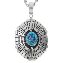 Turquoise Silver Navajo Overlay Pendant 35381