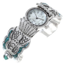 Old Pawn Turquoise Coral Watch Cuff 35382