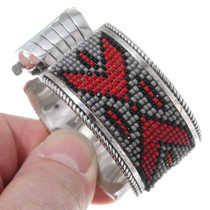 Native American Beaded Silver Watch Bracelet 35383