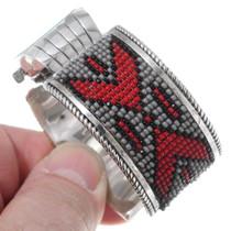 Native American Beaded Silver Watch Bracelet 35383