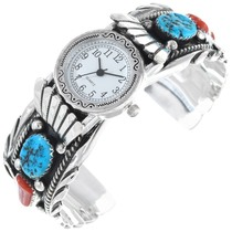 Sterling Silver Coral Turquoise Watch Bracelet 35385