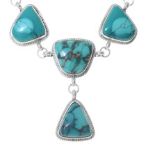 Green Spiderweb Turquoise Navajo Necklace Set 35387