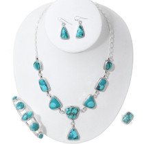 Green Turquoise Necklace Bracelet Jewelry Set 35387