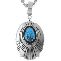 Authentic Navajo Turquoise Sterling Silver Pendant 35388