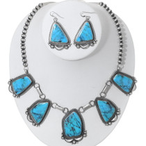 Navajo Turquoise Necklace Earrings Set 35390
