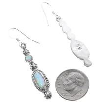 Native American Sterling Silver Opal Earrings 35391