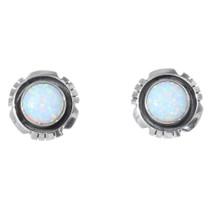 White Fire Opal Silver Post Earrings 35392