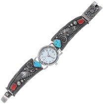 Old Pawn Turquoise Coral Silver Ladies Watch 34914