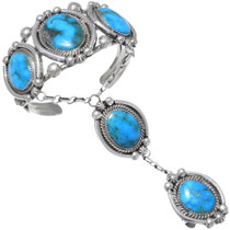 Navajo Turquoise Attached Bracelet Ring Set 35395