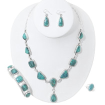 Navajo Turquoise Silver Necklace Set Mark Barney 35396