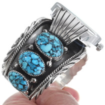 Spiderweb Turquoise Sterling Silver Watch Bracelet 35402