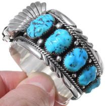 Zuni Sterling Silver Turquoise Watch Bracelet 35408