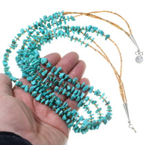 Green Turquoise Nugget Heishi Beaded Necklace 35460